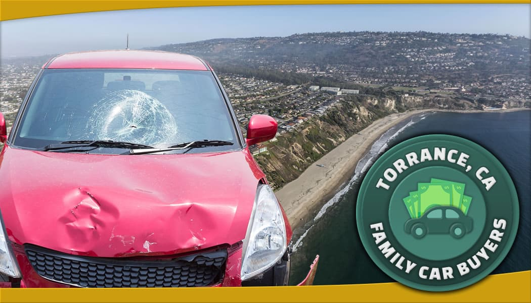 Red car with in front of aerial photo of Torrance, California and our official service area emblem