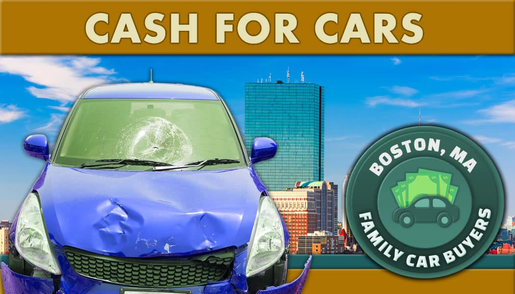 blue junk car in front of boston and the family car buyers cash for cars emblem